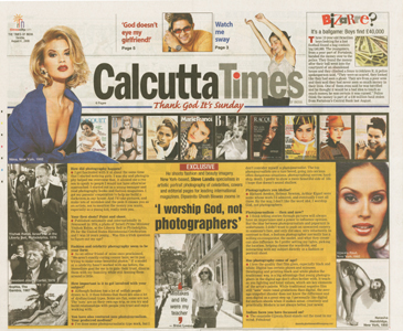 Page from CalcuttaTimes'  interview of celebrity portrait photographer Steve Landis