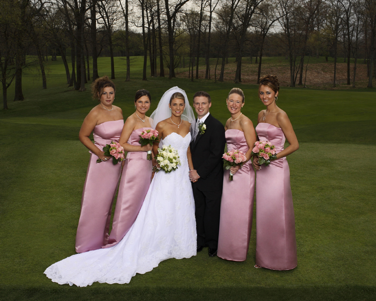 Vivian and Eric with her bridesmaids, Morris County Country Club, NJ photographed by celebrity photographer Steve Landis