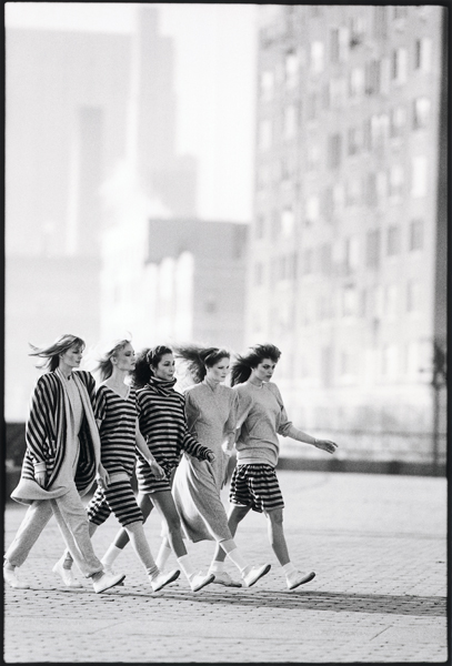 Five girls walking in sweats fashions from Norma Kamali, Upper East Side Manhattan  copyright SteveLandis  1981.  All rights reserved.