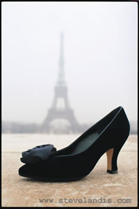 yves saint laurant shoe in front of the Eiffel Tower, Paris